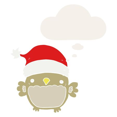 cute christmas owl with thought bubble in retro style