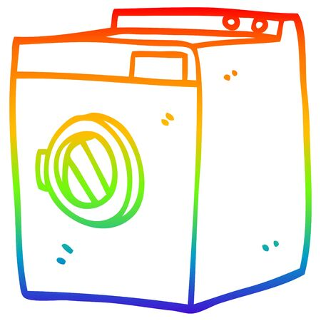 Regenbogenverlaufslinie Zeichnung eines Cartoon-Wäschetrockners