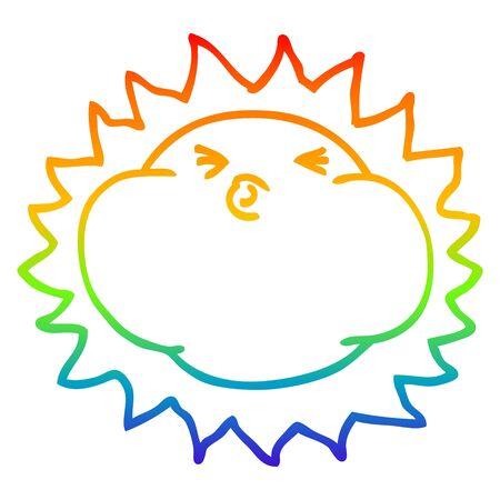 rainbow gradient line drawing of a cartoon shining sun