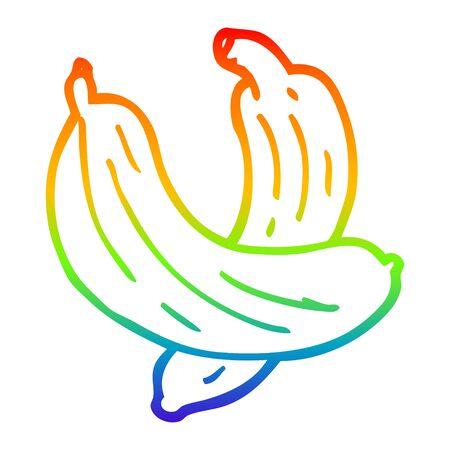rainbow gradient line drawing of a cartoon pair of  bananas