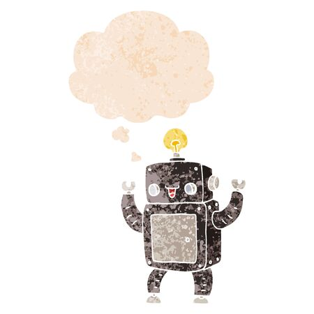 cartoon happy robot with thought bubble in grunge distressed retro textured style
