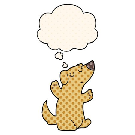 cartoon dog with thought bubble in comic book style