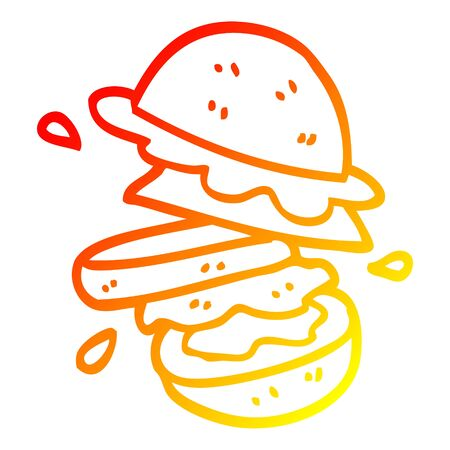 warm gradient line drawing of a cartoon burger