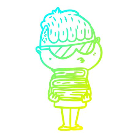 cold gradient line drawing of a cartoon boy wearing sunglasses with stack of books Illustration