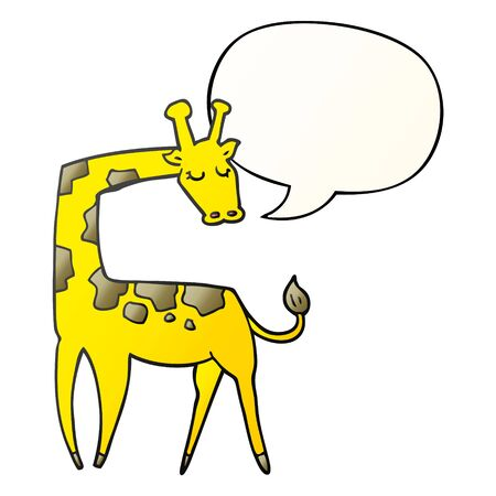 cartoon giraffe with speech bubble in smooth gradient style Ilustração