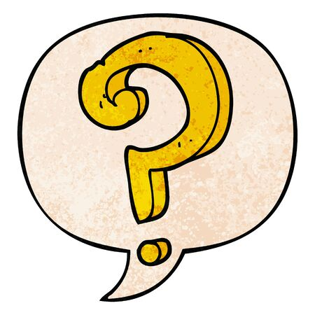 cartoon question mark with speech bubble in retro texture style