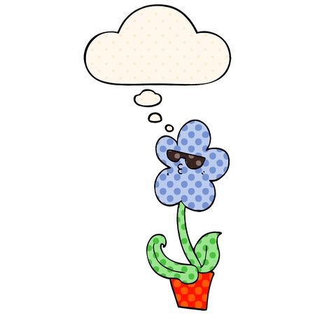 cool cartoon flower with thought bubble in comic book style Ilustração