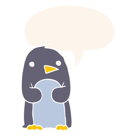 cartoon penguin with speech bubble in retro style