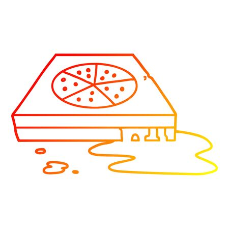 warm gradient line drawing of a cartoon greasy pizza