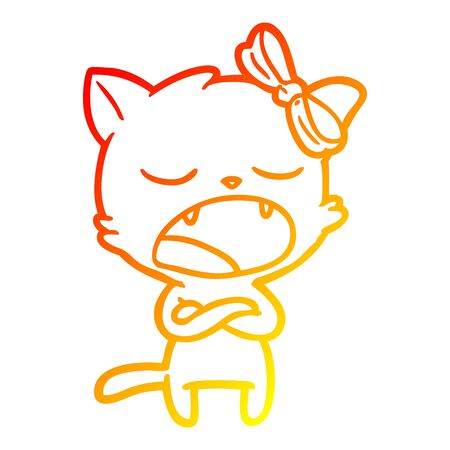 warm gradient line drawing of a annoyed cartoon cat
