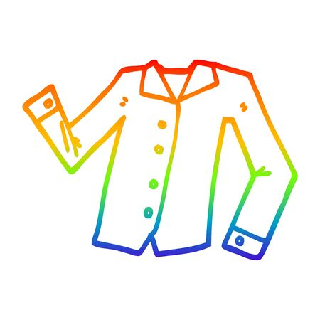 rainbow gradient line drawing of a cartoon work shirt