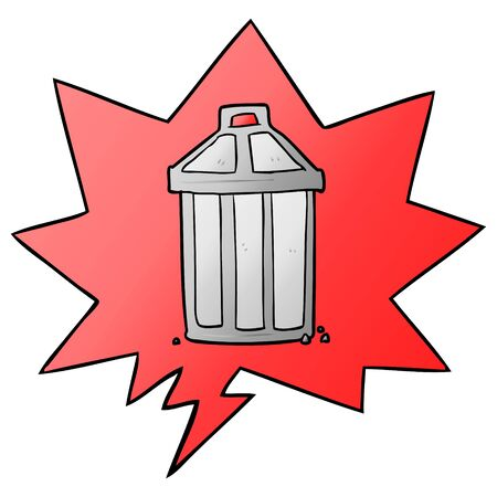 cartoon old metal garbage can with speech bubble in smooth gradient style