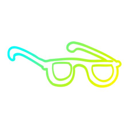 cold gradient line drawing of a cartoon glasses Stock Illustratie
