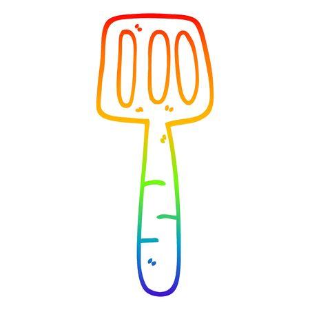 rainbow gradient line drawing of a cartoon food spatula 向量圖像