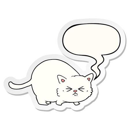 cartoon angry cat with speech bubble sticker Ilustração