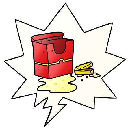 cartoon empty box of fries with speech bubble in smooth gradient style