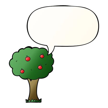 cartoon apple tree with speech bubble in smooth gradient style