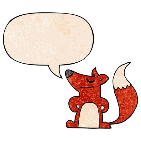cartoon fox with speech bubble in retro texture style Ilustração