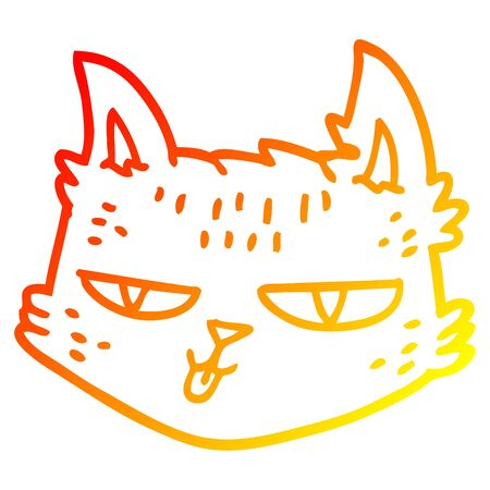 warm gradient line drawing of a funny cartoon cat