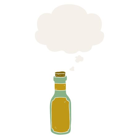 cartoon potion bottle with thought bubble in retro style