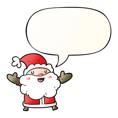 cartoon santa claus with speech bubble in smooth gradient style