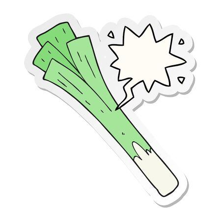cartoon leeks with speech bubble sticker