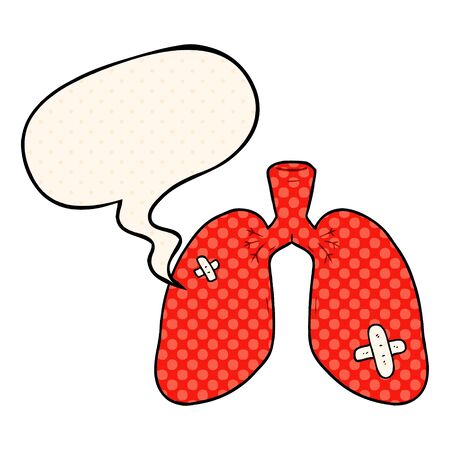 cartoon repaired lungs with speech bubble in comic book style