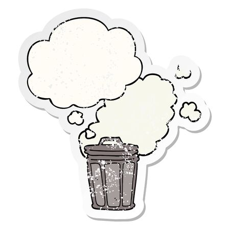 cartoon stinky garbage can with thought bubble as a distressed worn sticker