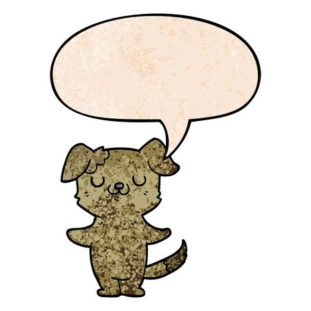 cartoon puppy with speech bubble in retro texture style