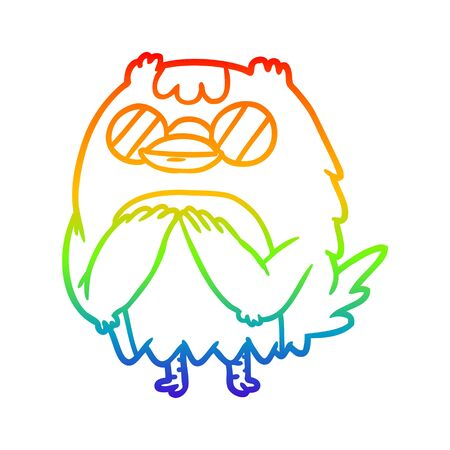 rainbow gradient line drawing of a cute wise old owl