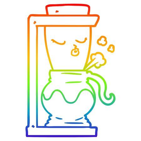 rainbow gradient line drawing of a cartoon filter coffee machine