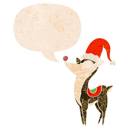 cartoon christmas reindeer with speech bubble in grunge distressed retro textured style