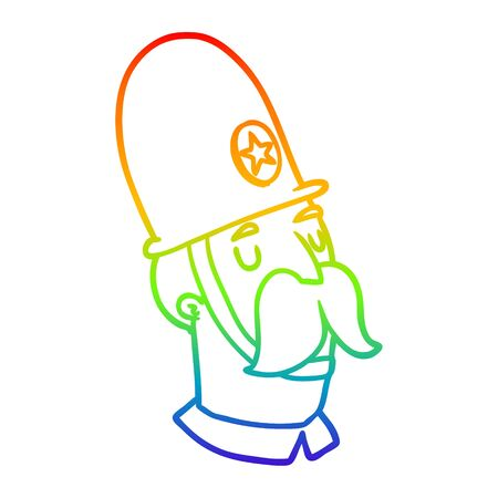 rainbow gradient line drawing of a cartoon policeman with mustache