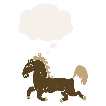 cartoon stallion with thought bubble in retro style