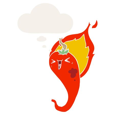 cartoon flaming hot chili pepper with thought bubble in retro style Ilustração