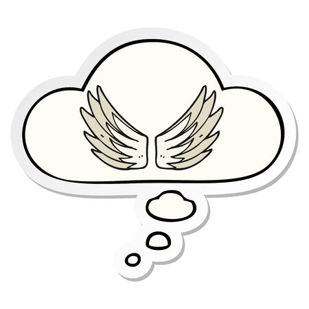 cartoon wings symbol with thought bubble as a printed sticker