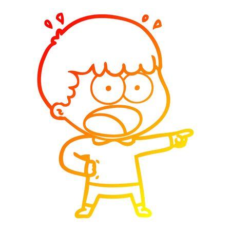 warm gradient line drawing of a cartoon shocked man pointing Illusztráció