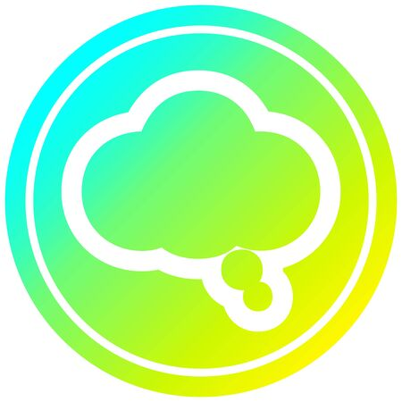 thought bubble circular icon with cool gradient finish Ilustracja