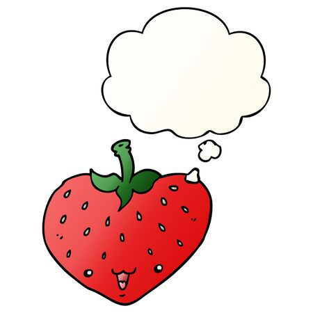 cartoon strawberry with thought bubble in smooth gradient style
