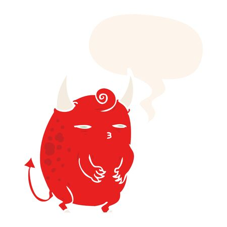 cartoon fat little halloween devil with speech bubble in retro style Ilustração