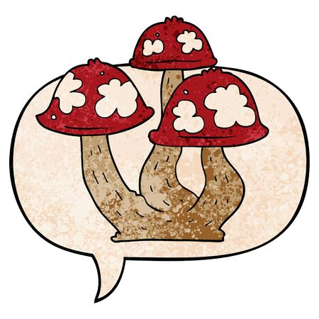 cartoon mushrooms with speech bubble in retro texture style