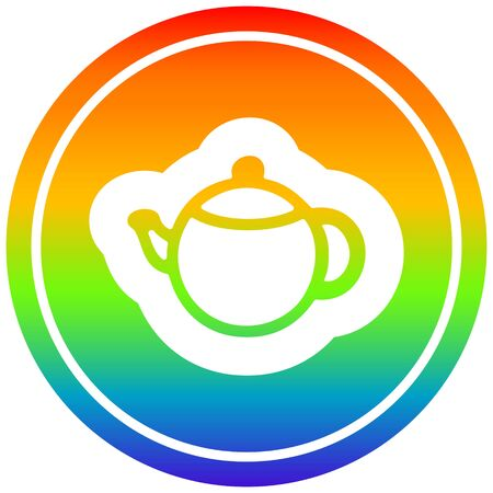 tea pot circular icon with rainbow gradient finish