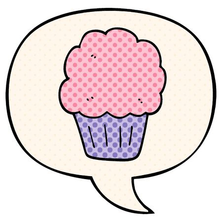 cartoon cupcake with speech bubble in comic book style