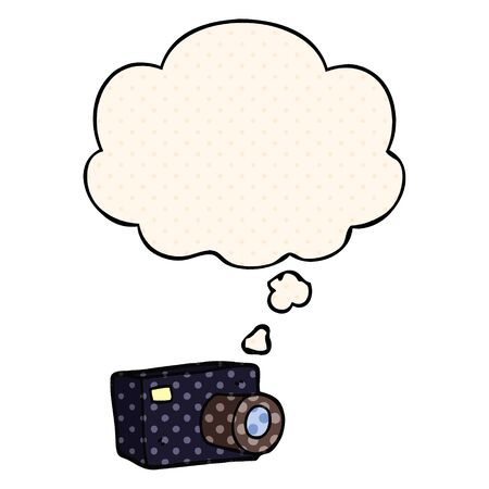 cartoon camera with thought bubble in comic book style Ilustração
