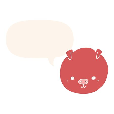cartoon pig with speech bubble in retro style Ilustração