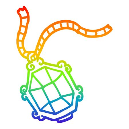 rainbow gradient line drawing of a cartoon expensive jewelery