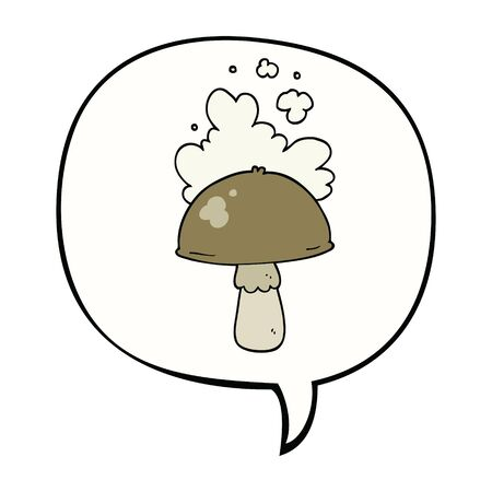 cartoon mushroom with spore cloud with speech bubble Çizim