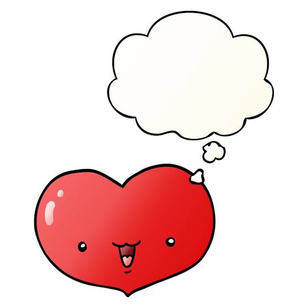 cartoon love heart character with thought bubble in smooth gradient style