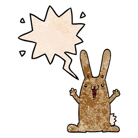 cartoon rabbit with speech bubble in retro texture style
