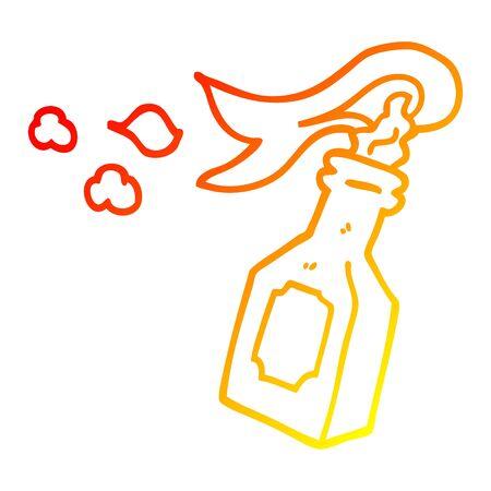 warm gradient line drawing of a cartoon molotov cocktail Illustration
